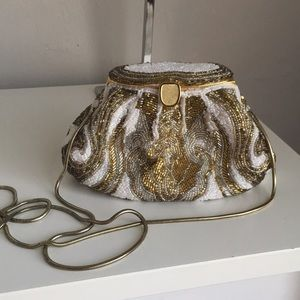 Stunning la regale gold/white beaded evening bag